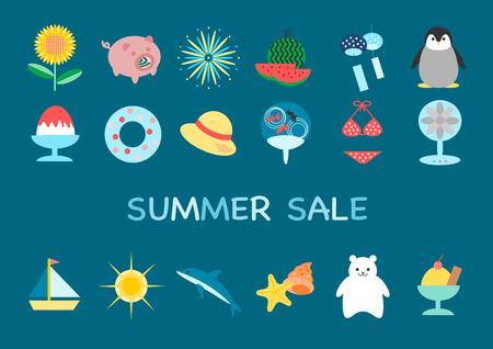 Illustration of summer sale. Çizim