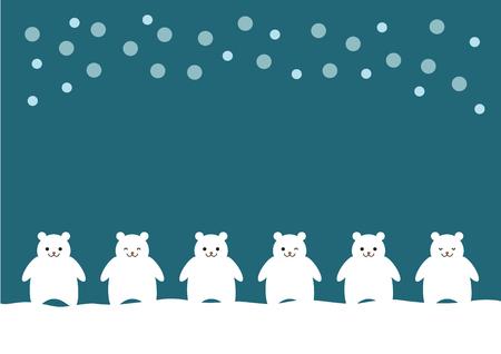 シロクマと雪のイラスト