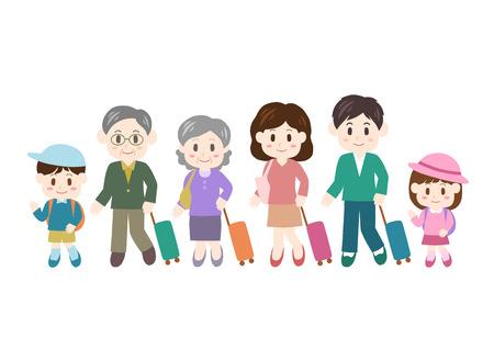 Illustration of family trip