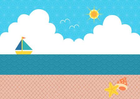 thunderhead: Illustration of seashore and yacht (Japanese pattern)