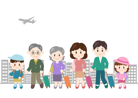 Illustration of family trip (passenger plane and buildings)