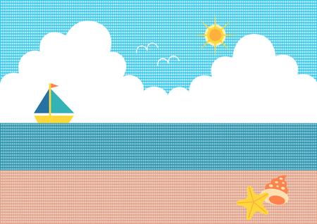 thunderhead: Illustration of seashore and yacht (Dot pattern)