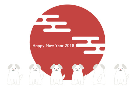 2018 New Year's card (Year of the dog and Japanese Pattern) Illustration