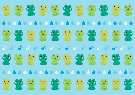 Illustration of frog and rain vector illustration. Illustration