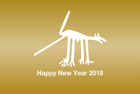 2018 New Years card (the Dog of the Nazca Lines)