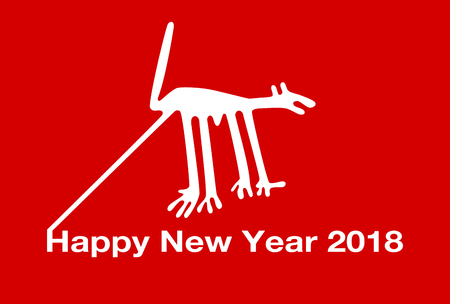 january 1: 2018 New Years card (the Dog of the Nazca Lines)