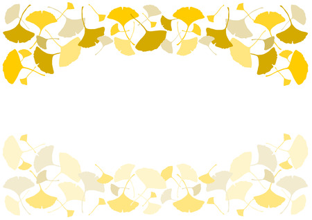 Illustration of ginkgo (decorated frame)