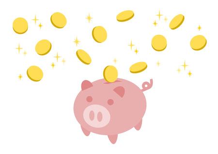 Ilustracja prosiątko bank i moneta