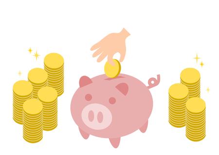 貯金箱のイラストとコイン
