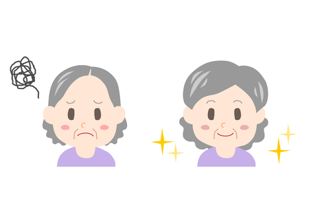 Trouble of thinning hair (elderly woman) Ilustracja