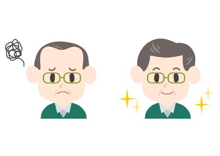(中年、高齢者の男性) 薄毛のトラブル  イラスト・ベクター素材