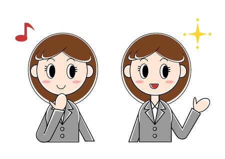 Illustration of businesswoman (glad, fun)
