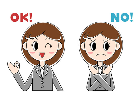 Illustration of businesswoman (O. K., no.)