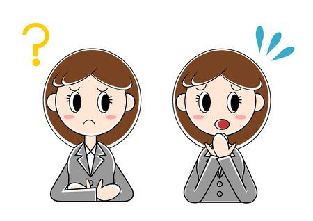 Illustration of businesswoman (question, bewilderment)