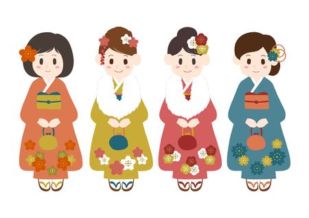 Coming of age ceremony (Women dressed in kimono)