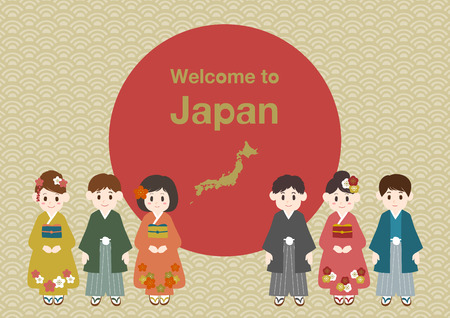 Welcome to Japan illustration, people wearing kimono and formal clothing