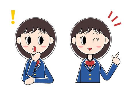 女子学生びっくり (提案) のイラスト