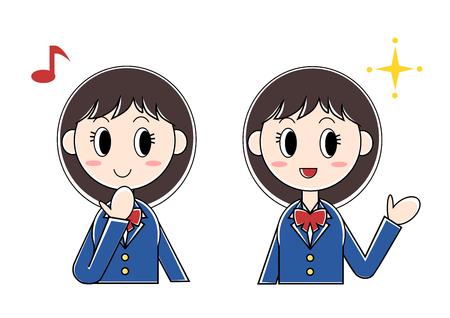 Illustration of girl student (glad, fun)