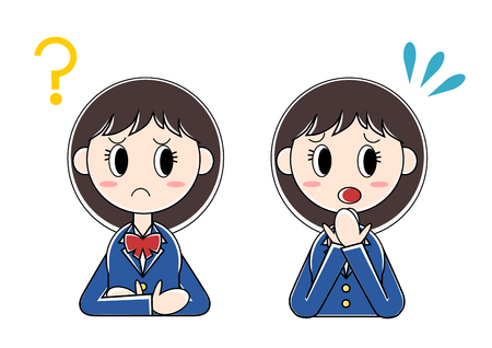 apprehension: Illustration of girl student (question, bewilderment) Illustration