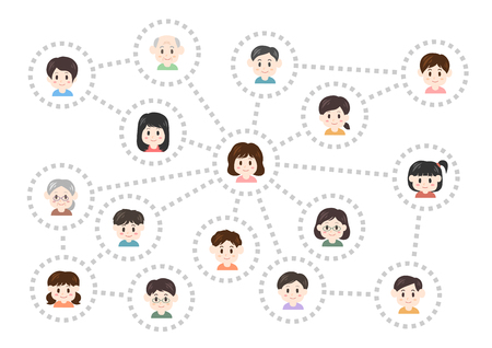 Human relations and network vector illustration.