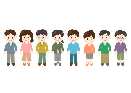 Illustration of women and men vector illustration.
