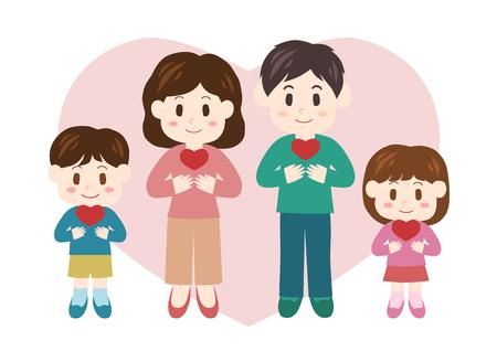 ハートと家族  イラスト・ベクター素材