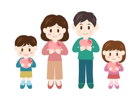現状と家族  イラスト・ベクター素材