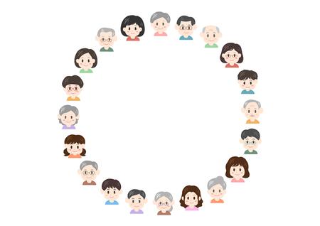 Illustration of people (circular shape)