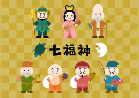 Illustration of Shichifukujin (Seven Lucky Gods)