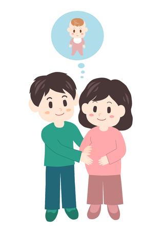 結婚されていたカップル (妊娠中の女性と男性)
