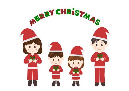 Illustration of family, Merry Christmas. Illustration