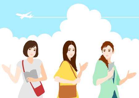 thunderhead: Traveling women Illustration