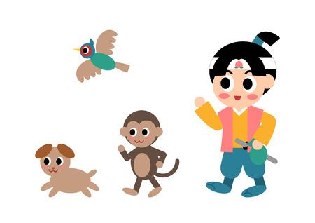 Illustration of Momotaro (well-known story in Japan), vector illustration.