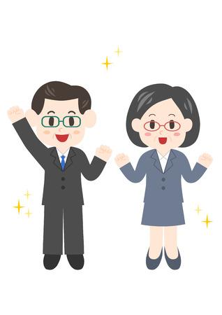 Illustration of businessman (do one's best) on white background. Illustration