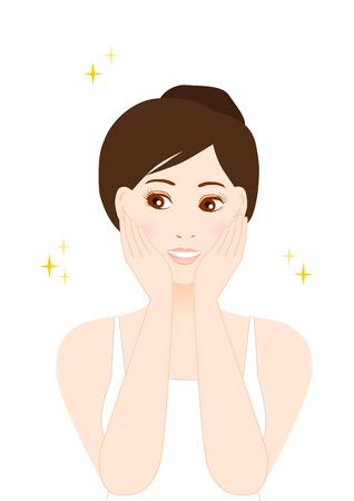 Illustratie van de vrouw (schoonheid en huidverzorging)