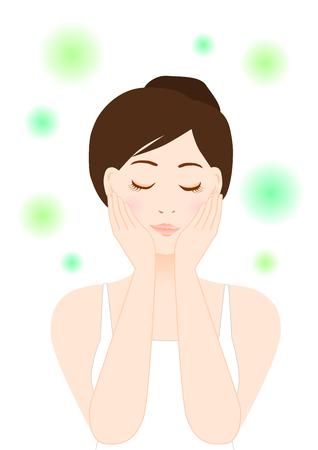 Illustratie van vrouw (schoonheid en huidverzorging) Stock Illustratie