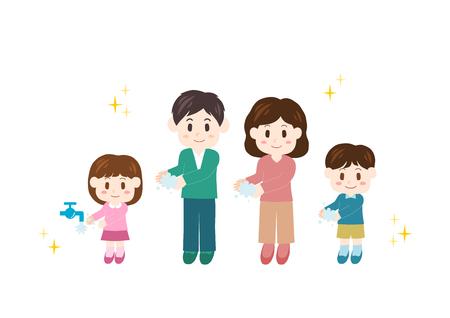 Illustration of Family (hand washing)