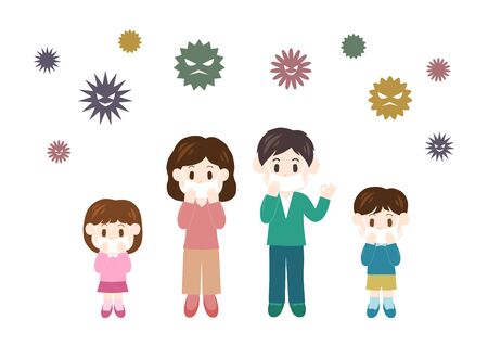Illustration of Family (prevention of cold) Illustration
