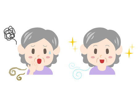 Elderly woman with bad breath and body odor.