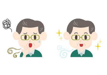 Mann mittleren Alters mit schlechtem Atem und Körpergeruch.