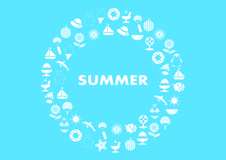 Illustration of summer (Round)
