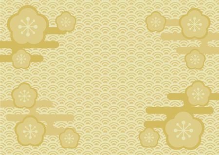 Japanese tradition pattern and plum blossom Ilustração