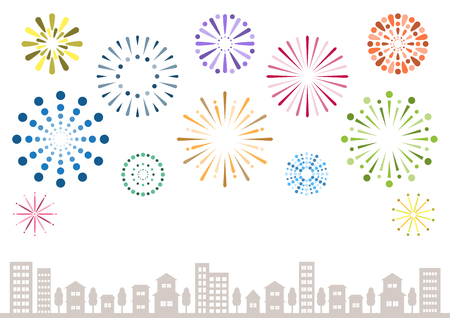 Illustration of fireworks and town