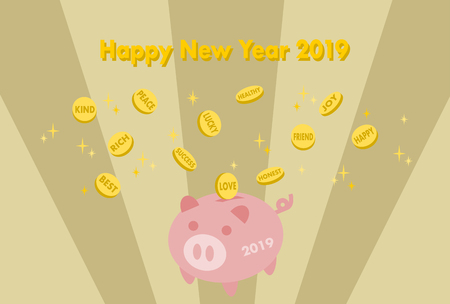 2019 New Years card: Piggy Bank, coin and positive words
