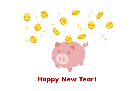 New Years card: Piggy Bank, coin and positive words