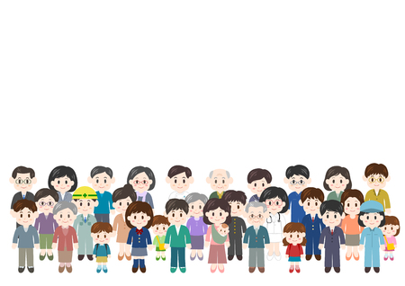 Illustration of people: crowd 일러스트