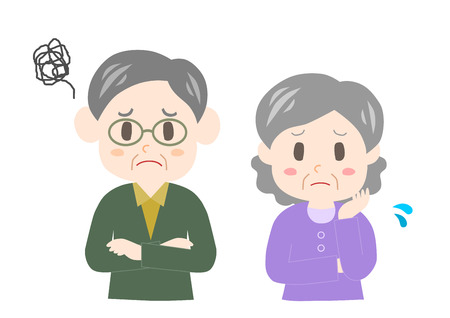 Senior couple who is troubled Illustration
