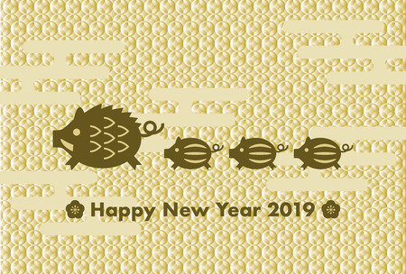 2019 New Year's card: Year of the boar and Japanese traditional pattern Çizim