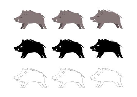 wild boar vector illustration: icon Ilustracja