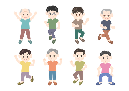 Men exercising icons set Illustration